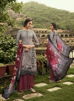 Simple And Elegant Looking Printed Dress Material Is Here In Grey And Maroon?Color. This Suit Is Crepe Based Paired With Georgette Fabricated Dupatta. It Is Beautified With Digital Prints And Embroidery.