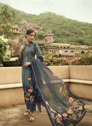 Beat The Heat This Summer Wearing This Simple and Elegant looking Printed Straight Suit In Teal Blue Color. This Dress Material Is Fabricated On Crepe Paired With Georgette Fabricated Dupatta. Buy This Pretty Digital Printed Suit Now.