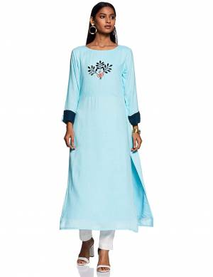 For Your Casual Or Semi-Casual Wear, Grab This Readymade Straight Kurti In Sky Blue Color Fabricated On Rayon Beautified With Thread Work.