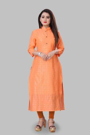 Grab This Simple And Elegant Looking Readymade Straight Kurti In Orange Color Fabricated On Cotton Silk. This Pretty Kurti Is Beautified With Foil Print. You Can Pair This Up With Same Or Contrasting Colored Bottom.