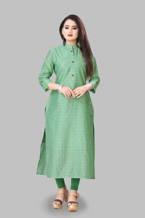 Add This Pretty Readymade Kurti To Your Wardrobe In Green Color Fabricated On Cotton Silk. This Straight Kurti Is Light In Weight And Available In All Regular Sizes.