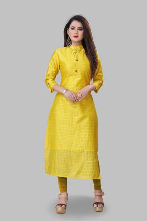 For Your Semi-Casual Wear, Grab This Readymade Straight Kurti In Yellow Color Fabricated On Cotton Silk. This Kurti Is Beautified With Foil Print And It Is Light In Weight And Easy To Carry All Day Long.