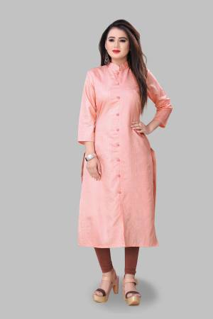 Look Pretty Wearing This Elegant Looking Readymade Kurti In Light Pink Color Fabricated On Cotton Silk. Buy This Pretty Kurti Now.