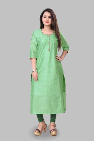 Grab This Simple And Elegant Looking Readymade Straight Kurti In Light Green Color Fabricated On Cotton Silk. This Pretty Kurti Is Beautified With Foil Print. You Can Pair This Up With Same Or Contrasting Colored Bottom.