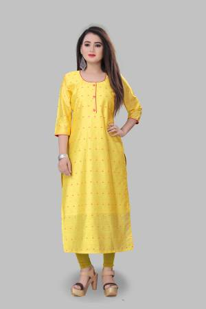 Add This Pretty Readymade Kurti To Your Wardrobe In Yellow Color Fabricated On Cotton Silk. This Straight Kurti Is Light In Weight And Available In All Regular Sizes.