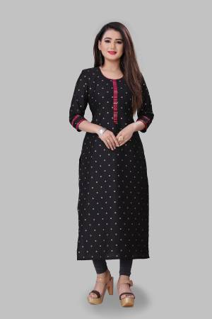 For Your Semi-Casual Wear, Grab This Readymade Straight Kurti In Black Color Fabricated On Cotton Silk. This Kurti Is Beautified With Foil Print And It Is Light In Weight And Easy To Carry All Day Long.