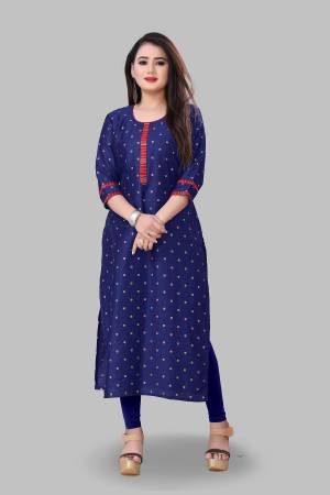 Look Pretty Wearing This Elegant Looking Readymade Kurti In Royal Blue Color Fabricated On Cotton Silk. Buy This Pretty Kurti Now.