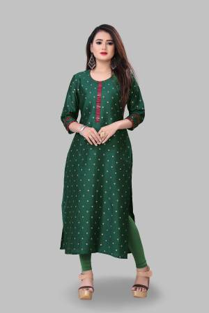 Grab This Simple And Elegant Looking Readymade Straight Kurti In Pine Green Color Fabricated On Cotton Silk. This Pretty Kurti Is Beautified With Foil Print. You Can Pair This Up With Same Or Contrasting Colored Bottom.