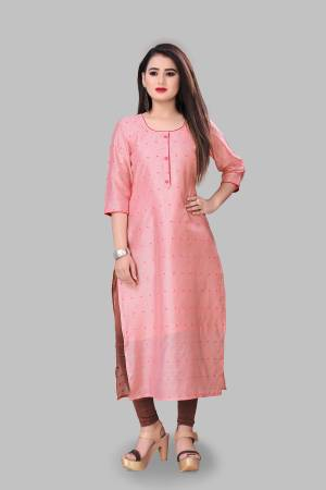 Add This Pretty Readymade Kurti To Your Wardrobe In Light Pink Color Fabricated On Cotton Silk. This Straight Kurti Is Light In Weight And Available In All Regular Sizes.