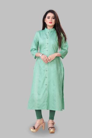 For Your Semi-Casual Wear, Grab This Readymade Straight Kurti In Light Green Color Fabricated On Cotton Silk. This Kurti Is Beautified With Foil Print And It Is Light In Weight And Easy To Carry All Day Long.
