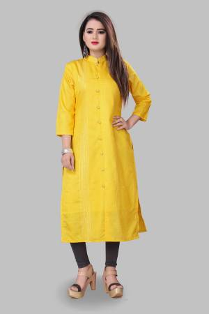Look Pretty Wearing This Elegant Looking Readymade Kurti In Yellow Color Fabricated On Cotton Silk. Buy This Pretty Kurti Now.
