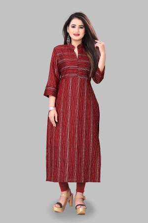 Grab This Simple And Elegant Looking Readymade Straight Kurti In Maroon Color Fabricated On Cotton Silk. This Pretty Kurti Is Beautified With Foil Print. You Can Pair This Up With Same Or Contrasting Colored Bottom.