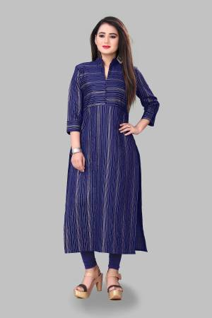 Add This Pretty Readymade Kurti To Your Wardrobe In Royal Blue Color Fabricated On Cotton Silk. This Straight Kurti Is Light In Weight And Available In All Regular Sizes.