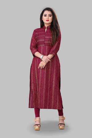 For Your Semi-Casual Wear, Grab This Readymade Straight Kurti In Magenta Pink Color Fabricated On Cotton Silk. This Kurti Is Beautified With Foil Print And It Is Light In Weight And Easy To Carry All Day Long.