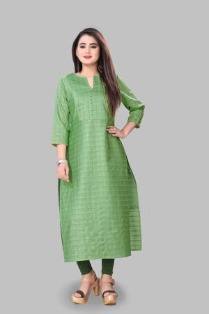 Look Pretty Wearing This Elegant Looking Readymade Kurti In Green Color Fabricated On Cotton Silk. Buy This Pretty Kurti Now.