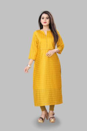 Add This Pretty Readymade Kurti To Your Wardrobe In Musturd Yellow Color Fabricated On Cotton Silk. This Straight Kurti Is Light In Weight And Available In All Regular Sizes.