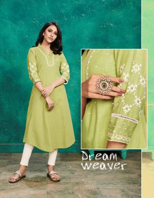 Grab This Pretty Readymade Kurti For Your Casual Or Semi-Casual Wear In Light Green Color Fabricated On Cotton Slub. This Pretty Kurti Is Light Weight, Durable And Easy To Carry All Day Long.