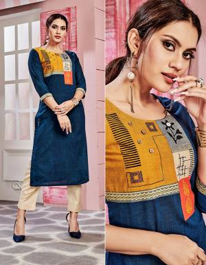 Look Pretty In This Pretty Readymade Kurti In Blue Color Fabricated On Cotton. This Kurti Is Suitable For Semi-Casual Wear And Available In All Regular Sizes.