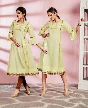 Here Is An Elegant Looking Kurti In Yellow Color Fabricated On Rayon. This Readymade Kurti Is Light In Weight And Can Be Styled In Multiple Ways As Per Occasion.