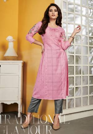 Grab This Pretty Readymade Kurti For Your Casual Or Semi-Casual Wear In Pink Color Fabricated On Rayon. This Pretty Kurti Is Light Weight, Durable And Easy To Carry All Day Long.