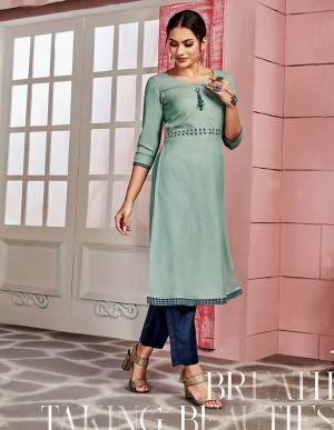 Grab This Pretty Readymade Kurti For Your Casual Or Semi-Casual Wear In Steel Blue Color Fabricated On Rayon. This Pretty Kurti Is Light Weight, Durable And Easy To Carry All Day Long.