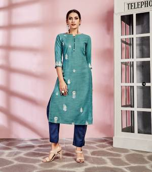 Look Pretty In This Pretty Readymade Kurti In Blue Color Fabricated On Rayon. This Kurti Is Suitable For Semi-Casual Wear And Available In All Regular Sizes.