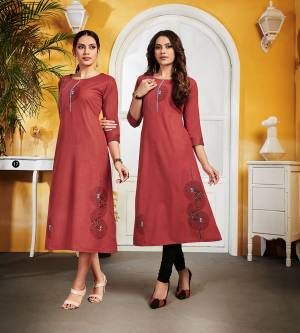Here Is An Elegant Looking Kurti In Red Color Fabricated On Cotton. This Readymade Kurti Is Light In Weight And Can Be Styled In Multiple Ways As Per Occasion.