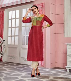 Look Pretty In This Pretty Readymade Kurti In Red Color Fabricated On Rayon. This Kurti Is Suitable For Semi-Casual Wear And Available In All Regular Sizes.