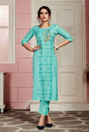 Here Is An Elegant Looking Kurti In Sky Blue Color Fabricated On Rayon. This Readymade Kurti Is Light In Weight And Can Be Styled In Multiple Ways As Per Occasion.