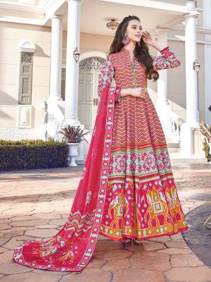 Look Pretty In This Lovely Readymade Designer Floor Length Suit In Dark Pink And Multi Color. Its Top Is Fabricated On Soft Silk Paired With Cotton Leggings And Soft Muslin Fabricated Dupatta. Buy This Pretty Suit Now.