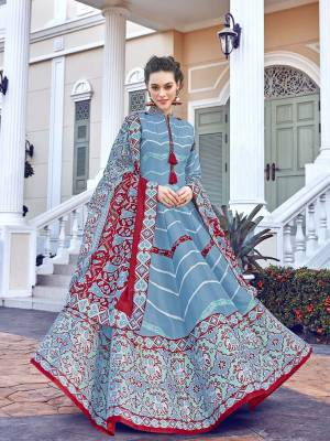 Look Pretty In This Lovely Readymade Designer Floor Length Suit In Sky Blue Color. Its Top Is Fabricated On Soft Silk Paired With Cotton Leggings And Soft Muslin Fabricated Dupatta. Buy This Pretty Suit Now.
