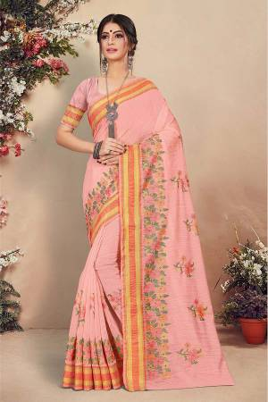 Look Pretty Wearing This Designer Saree In Pink Color. This Pretty Saree And Blouse Are Fabricated On Cotton Beautified With Detailed Thread Emboidery. Buy This Saree Now.