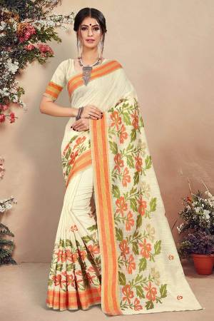 Simple And Elegant Looking Pretty Saree Is Here In Off-White Color. This Saree And Blouse Are Fabricated On Cotton Beautified With Pretty Thread Work. Buy Now.