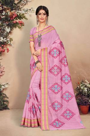 Look Pretty Wearing This Designer Saree In Powder Pink Color. This Pretty Saree And Blouse Are Fabricated On Cotton Beautified With Detailed Thread Emboidery. Buy This Saree Now.