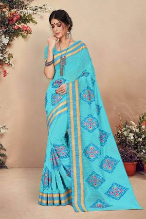 Look Pretty Wearing This Designer Saree In Sky Blue Color. This Pretty Saree And Blouse Are Fabricated On Cotton Beautified With Detailed Thread Emboidery. Buy This Saree Now.