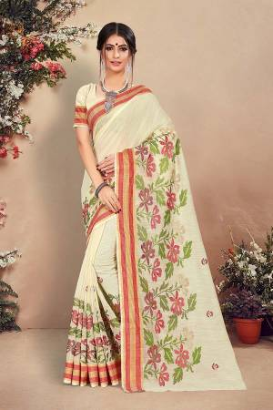 Simple And Elegant Looking Pretty Saree Is Here In Cream Color. This Saree And Blouse Are Fabricated On Cotton Beautified With Pretty Thread Work. Buy Now.