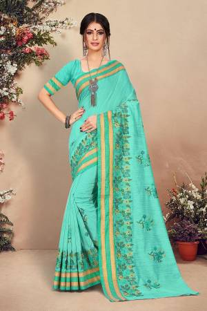 Look Pretty Wearing This Designer Saree In Sea Green Color. This Pretty Saree And Blouse Are Fabricated On Cotton Beautified With Detailed Thread Emboidery. Buy This Saree Now.