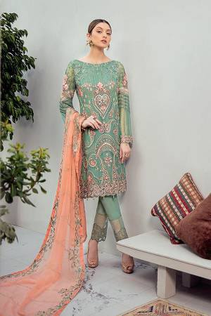 Look Pretty Wearing This Heavy Designer Straight Suit In Sea Green Color Paired With Light Orange Colored Dupatta. Its Embroidered Top And Dupatta Are Georgette Based Paired With Santoon Fabricated Bottom. Buy This Pakistani Suit Now.