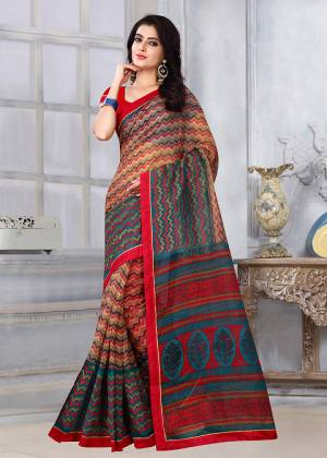Simple and Elegant Looking Printed Saree Is Here For Your Casual Or Semi-Casual Wear. This Saree and Blouse Are Fabricated On Kota Silk Beautified With Prints All Over. It Is Light In Weight and Easy To Carry All Day Long.