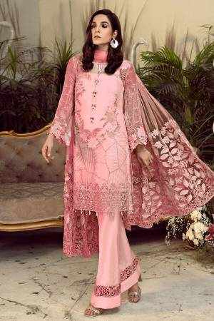 Grab This Pretty Heavy Embroidered Pakistani Designer Suit In Pink Color. Its Embroidered Top Is Georgette Based Paired With Santoon Bottom and Net Fabricated Embroidered Dupatta.