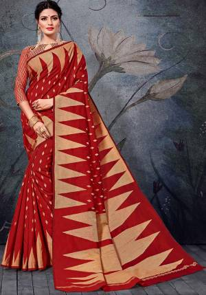 Here Is A Pretty Rich Designer Weaved Saree In Red Color. This Saree And Blouse Are Fabricated On Handloom Cotton Which Is Durable And Easy To Care For.