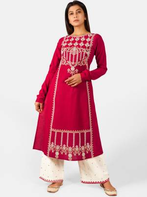 Celebrate This Festive Season With Beauty And Comfort Wearing This Designer Readymade Pair Of Kurti With Plazzo In Dark Pink And White Color. This Pretty Pair Is Khadi Based Beautified With Detailed Thread Embroidery.