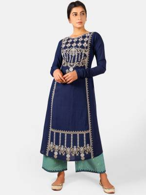 You Will Definitely Earn Lots Of Compliments Wearing This Designer Readymade Pair Of Kurti And Plazzo In Navy Blue And Blue Color. This Readymade Pair Is Fabricated On Khadi Beautified With Thread Work. Buy This Readymade Pair Now.
