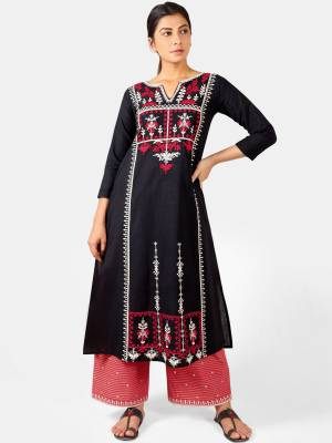 Celebrate This Festive Season With Beauty And Comfort Wearing This Designer Readymade Pair Of Kurti With Plazzo In Black and Pink Color. This Pretty Pair Is Khadi Based Beautified With Detailed Thread Embroidery.