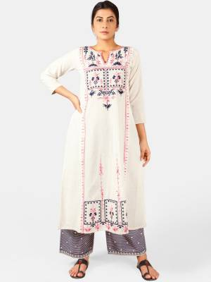 You Will Definitely Earn Lots Of Compliments Wearing This Designer Readymade Pair Of Kurti And Plazzo In White and Grey Color. This Readymade Pair Is Fabricated On Khadi Beautified With Thread Work. Buy This Readymade Pair Now.