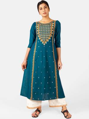 Celebrate This Festive Season With Beauty And Comfort Wearing This Designer Readymade Pair Of Kurti With Plazzo In Blue And White Color. This Pretty Pair Is Khadi Based Beautified With Detailed Thread Embroidery.