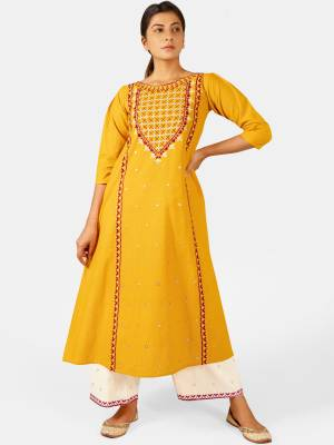You Will Definitely Earn Lots Of Compliments Wearing This Designer Readymade Pair Of Kurti And Plazzo In Yellow And White Color. This Readymade Pair Is Fabricated On Khadi Beautified With Thread Work. Buy This Readymade Pair Now.