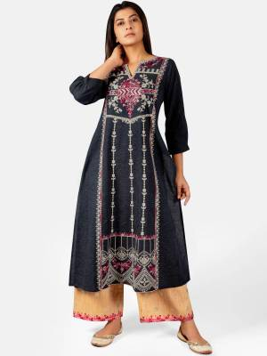 Celebrate This Festive Season With Beauty And Comfort Wearing This Designer Readymade Pair Of Kurti With Plazzo In Dark Grey and Light Yellow Color. This Pretty Pair Is Khadi Based Beautified With Detailed Thread Embroidery.