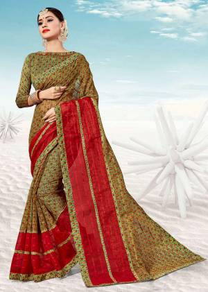 Pretty Simple Saree For Your Casual Or Semi-Casual Wear Is Here In Green Color. This Saree And Blouse Are Fabricated On Kota Silk Beautified With Prints All Over.