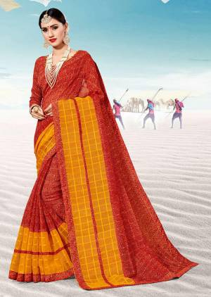 Pretty Simple Saree For Your Casual Or Semi-Casual Wear Is Here In Red Color. This Saree And Blouse Are Fabricated On Kota Silk Beautified With Prints All Over.